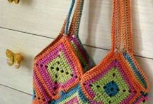 crochet bags and coiled baskets