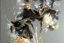 Dark Poppy Acrylic Painting / Acrylic 80x80cm
