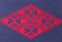 Kogin & Pattern Darning / Using Running Stitch, Pattern Darning creates decorative patterns. Kogin is the Japanese form of this technique. Pattern illustrations, stitch diagrams and examples of kogin and darning samplers. Free projects as well.