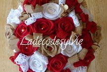Bouquet de Mariée rouge, blanc toile de jute et décos de table assortie