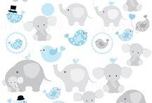 Enxoval / Elefante e girafa baby