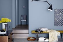 Küche blaue Wand