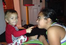 Maximus playing with sisi ... Chewing gum and pooping  / Family
