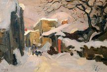 Jules Émile Zingg / Painting tableaux snow art oil on canvas