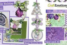 CraftEmotions Purple Holiday Collection / A collection matching products for cardmaking, mixed media and more. Available products: decorated paperstack, clearstamps, masks, wooden ornaments