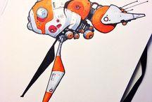 Drawn Orange Ships