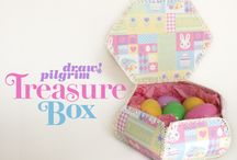 Retro crochet and card boxes and baskets
