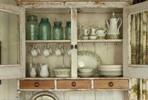 Vintage Country Kitchens / Old country kitchens with vintage chippy cabinets.