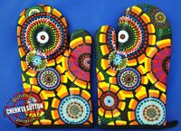 Aboriginal design Kitchen Sets / Bunabiri Kitchen Gift Sets designed in Australia by royalty paid artists and made in China Royalties from the manufacture of this product directly benefit the artist and their family