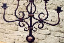 Wrodiron candleholders and chandeliers