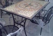 Tavoli ferro battuto e mosico