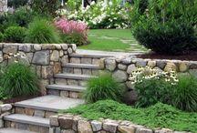 Schody záhrad. kamenné