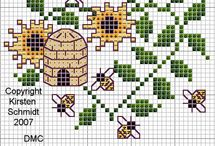 Cross stitch - bees