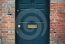 Front doors- red brick