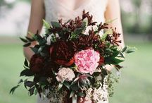 Rich wine coloured bouquets