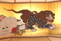 Japanese Traditional Hand Paint Byobu (Gold Leaf Folding Screen) / Collection of top artist in Japan.