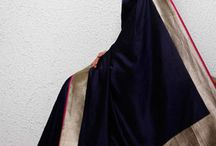 navy blue saree