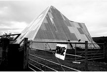 Glastonbury festival site 1988 / A cold and bleak but fun day tramping around the Glastonbury festival site taking pictures with a high speed b&w film, back in 1988 I think.