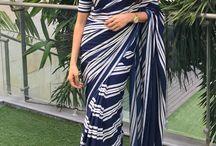 Shilpa Reddy striped sari