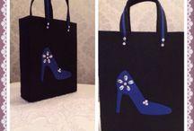 ✨Ayakkabı çantası✨Shoes bag✨ / Keçe mavi saten, taşlı ayakkabı çantası✨✨