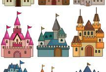 замки, домики