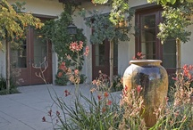 Large ceramic amphoras, vases and pots in the garden