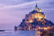 Miasto, zamek, skaly, swiatlo