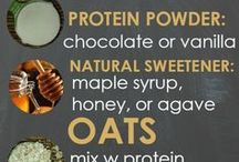 Protein, shakes, energy foods.