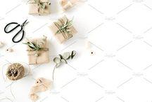 Gift wrap flat lays