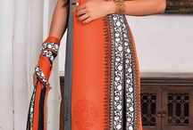 424777: Black and Grey, Orange color family stitched Party Wear