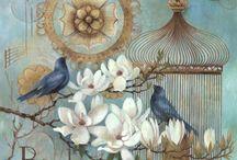 Vintage fåglar