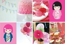 Caia's Second Birthday Kokeshi Dolls and Cherry Blossoms / by Kara Flamingo
