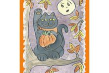 Halloween Themed Postcards at Three Cats Graphics' Zazzle Shop / Customizable Halloween themed postcards from Three Cats Graphics' Zazzle Shop.