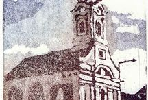 Churches / #aquatint #etching #church #Kecskemét
