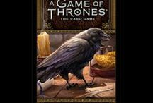 A Game of Thrones / Showcasing the Game of Thrones LCG game with epic battles and intrigue for 2-4 players. Players vie for the Iron Throne as one of the six Great Houses of Westeros using their favorite characters from George R.R. Martin's A Song of Ice and Fire novels in military, intrigue and power challenges. Now a TV series too on Sky.