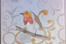 zangvogels / 40/40 cm acryl op canvas roodborstje en pimpelmees