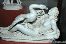 Art - Leda and The Swan / Inspiration for a painting in acrylic and paper on canvas, about the seduction of Leda by Zeus.