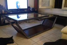 Table basse suspendu / Table basse tubulaire en acier brossé et tôle rouillé