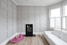 Bedroom - Hambalt Road, SW4 / Bright and airy Baby's room in Clapham Shaker/panelled doors with handleless detail Walnut interiors Cornforth White by Farrow & Ball Wood burner Log burner Pharmacy drawer Lockable drawer