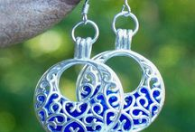 """Filigree Hoops / Beautiful 1"""" filigree hoops filled with the sparkling remains of antique glass and bottles reclaimed from the woods and farmlands of PA, in an effort to remove this hazard from the environment and wildlife!"""