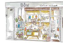 Atelier boutique Böw / Atelier de Sacadidie, la roulotte du pinson, Touk et djouk