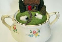 craft: Magical Wool Teacup Wonderlands / Itty bitty wonderlands made from felted wool, wool felt, and wool roving- all fitting in a teacup.