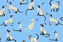 Cat Fabric I Love / adorable cat fabric
