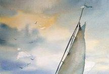 barca a.vela sommersa da onde conmmolto cielo di tante tonalita