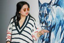 OOTD: KAOS JEANS oversized V-cut stripe knit top