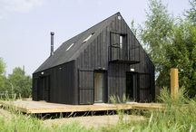 House / black walls & black roof  house