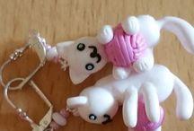 Boucles d'oreilles Animaux / Bijoux en pâte polymère fait main sans moule