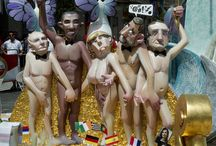 Provocative and Satirical Art / Satirical cardboard sculptures of Russian Prime Minister Vladimir Putin, US President Barack Obama, German Chanceller Angela Merkel, Spain's Prime Minister Mariano Rajoy and French President Francois Hollande are displayed prior to being set alight during the annual San Juan celebrations in Alicante, SpainAFP