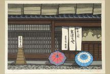 Japanese wood block prints.
