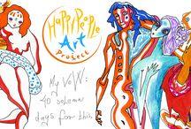 HAPPY PEOPLE ART PROJECT / A figyelem alkot. A művészet figyelmeztet. Most azért rajzolok, hogy ezen tartsuk a figyelmünket. 40 napos fogadalmamat teljesítettem, egy boldog világért. - The attention creates. The art draws attention. Now I draw so that we keep our attention on this. I fulfilled my 40-day vow for a happy world.